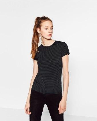 black t-shirt zara